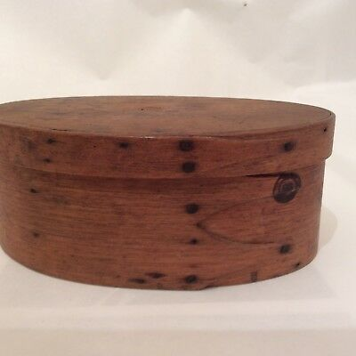 RARE Antique Shaker Oval Box Original Old Surface 19th-Century With Three Finger