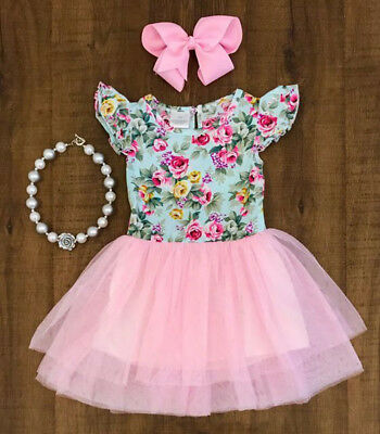 Baby Girls Pageant Princess Lace Flower Tulle Tutu Ball Gown Formal Party Dress