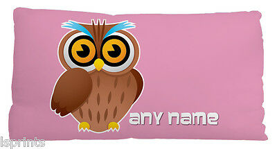 """Personalised Cute Owl Small Cushion Ideal Gift Car Travel Accessory 11 X 9"""""""