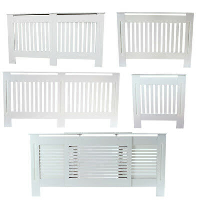 New Radiator Cover White Vertical Stripe Pattern MDF Simple Home Design 5 Sizes