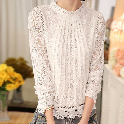 Fashion Summer Womens Loose Casual Long Sleeve Lace Shirt Blouse Ladies Tops US