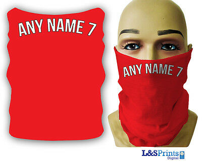 Personalised Football Snood Necktube Neckwarmer Facemask Red Any Text