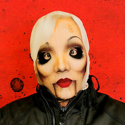 3D Effect Posessed Old Woman Faceskin Lycra Fabric Face Mask Halloween Mask