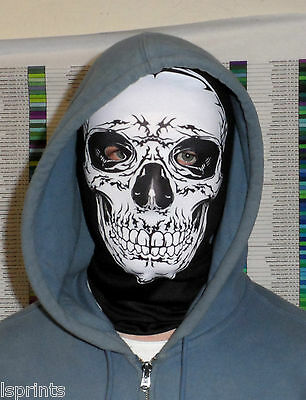 Black White Skull Face Fun Horror 3D Fabric Face Mask Stag Night Fancy Dress