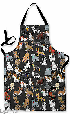 Splashproof Novelty Apron Cartoon Dogs Cooking Painting Art Kitchen BBQ Gift