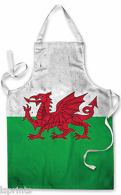 Splashproof Novelty Apron Welsh Grunge Cooking Painting Art Kitchen BBQ Gift