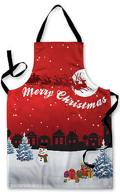 Splashproof Novelty Apron Red Christmas Village Cooking Painting Art Kitchen BBQ
