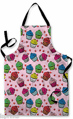 Splashproof Novelty Apron Pink Cupcakes Cooking Painting Art Kitchen BBQ Gift