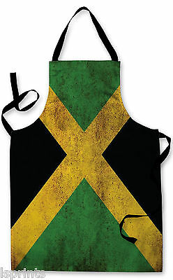 Splashproof Novelty Apron Jamaican Grunge Flag Cooking Painting Art Kitchen BBQ
