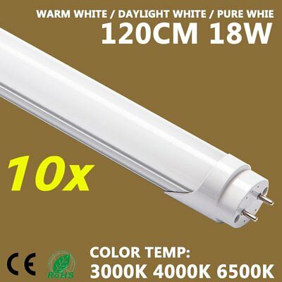 10X LED T8 Light Tube Lamp 18W 120CM Fluorescent Replacement PURE WARM DAY OZ