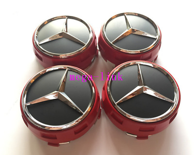 4 PCS 75mm Wheel Center Hub Caps Cover Badge Emblem For Mercedes Benz Red New
