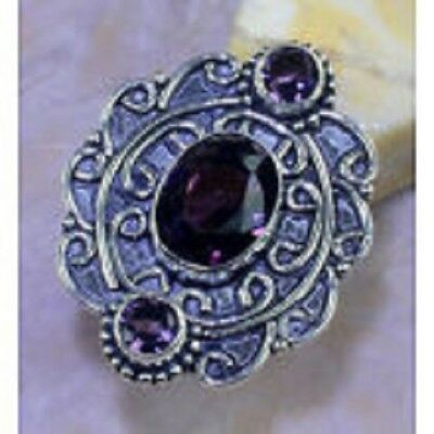Beautiful Genuine Amethyst Antique Medieval Concentration Maze 925 Silver Ring 9