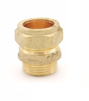 "Brass Compression 22mm x 3/4"" BSP Male Iron to Copper Straight Coupler Adaptor"