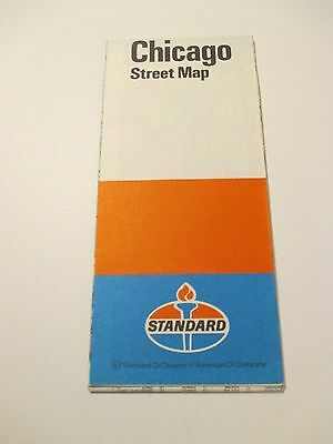 Vintage AMERICAN Chicago ILL Street Map Oil Gas Station Road Map