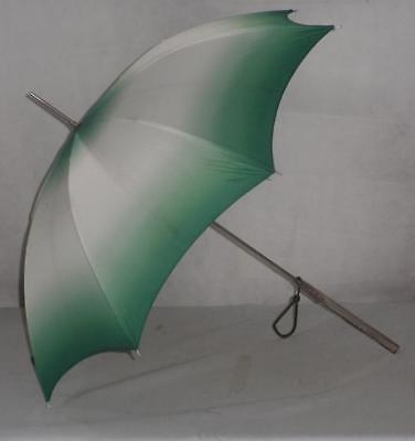 Antique Beautiful Carved Lucite Umbrella - Green/White Two Tone Canopy -86cm