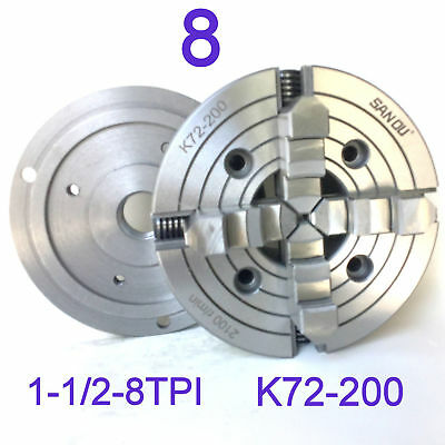 "1 pc Lathe Chuck 8"" 4-Jaw Independent w/Back Plate 1-1/2""-8TPI K72-200 sct888"