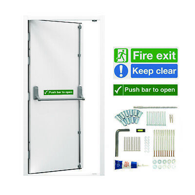 Fire Doors - Emergency Exit Panic Escape Metal Door & Frame - Fitted Push Bar