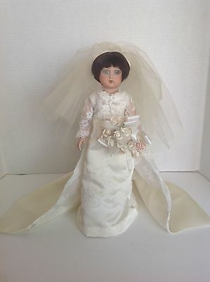 "Custom hand made OOAK porcelain bridal bride doll by Dilly Dolly USA 15"" tall"