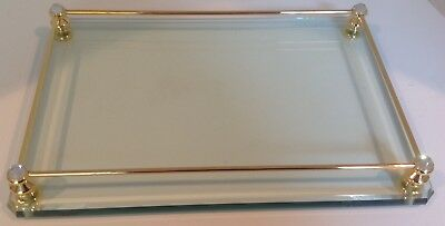 Vanity tray clear glass brass rails corner posts topped w/Swarovski crystals EUC