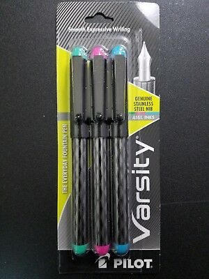 Pilot Varsity Disposable Fountain Pen 3-Pack, Assorted Colors, Inks 90067