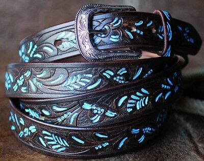 35-36 Handmade Basket Weave Tool Heavy Duty Western Leather Belt 2601Rs2804