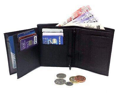 Ods:uk® Mens High Quality Luxury Soft Leather Tri Fold Wallet Credit Card Slots