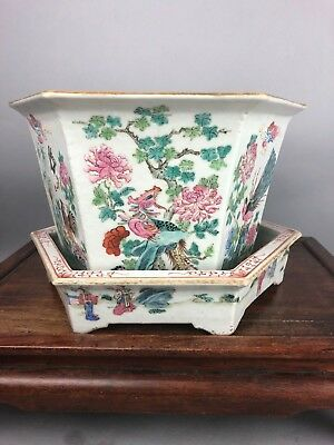 18th/19th C. Chinese Famille-rose Hexagon Flower Pot And Tray