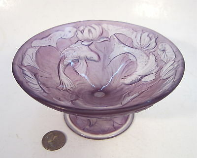 PHOENIX CONSOLIDATED Antique Art Glass MARTELE FISH Amethyst Stain Compote Bowl