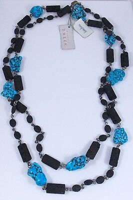 """Stephen Dweck Sterling Silver Chunky Turquoise Lava Pumice Long Necklace 33"""""""