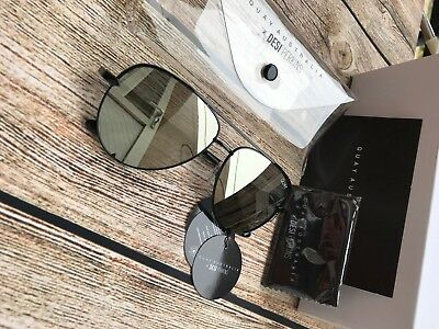 Quay High Key Mini Mirrored Aviator Sunglasses In Black Silver New With Tags