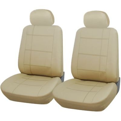 Beige Leather Look Front Seat Covers For SMART CITY COUPE 00-04