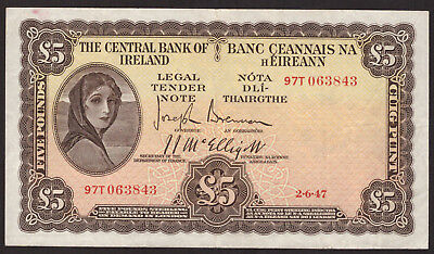 Central Bank of Ireland Five Pounds 1947. Good Very Fine