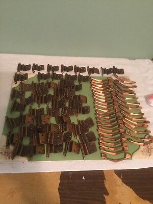 Vintage Lot Of 112  COPPER Drawer PULLS Chevron Boomerang with Hinges.