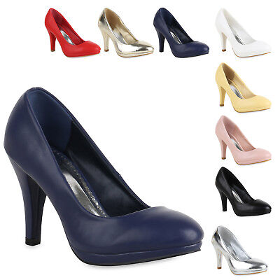 Klassische Damen Pumps Stiletto High Heels Leder-Optik Schuhe 820571 Trendy Neu