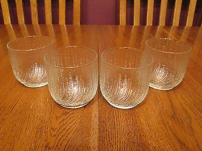 Four Arcoroc Seabreeze Clear Textured Swirl Old Fashioned Glasses