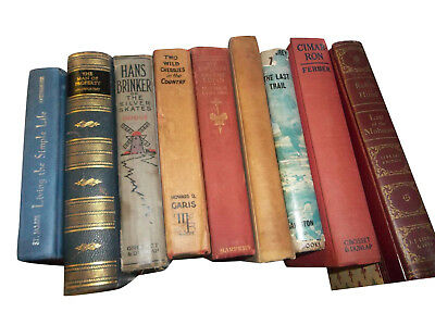 Huge Lot of 50 Old Vintage Antique Shelf Mantle Display Books Rustic Spines