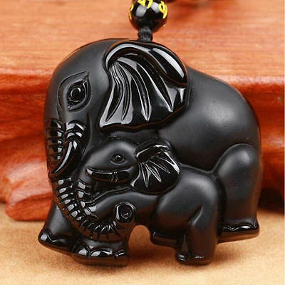 Natural Black Obsidian Hand Carved Cute Elephant Lucky Pendant Beads Necklace AA