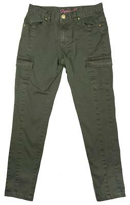 Girls Trousers Slim Fit Army Combat Pocket Khaki Chino Style Pants 8 to 13 Years