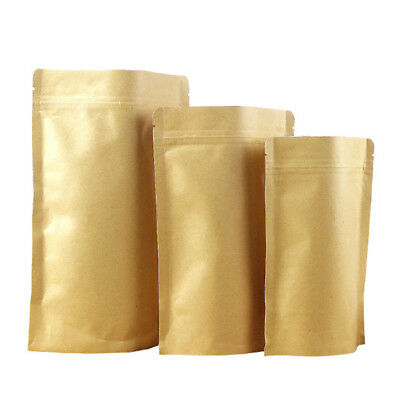 20Pcs Kraft Paper Bag Pouch Stand Up Sealable Coffee Seeds Nuts Grip Heat Seal