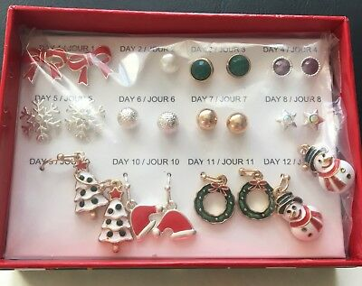 Avon 12 Days Of Christmas Earrings NIB