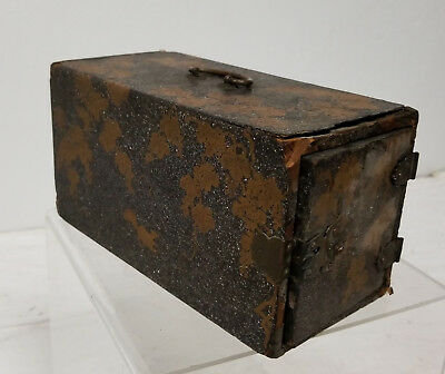 Antique Japanese Gold Lacquer Kodansu Incense Box Meiji Bronze