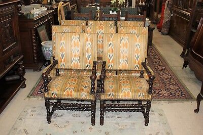 Beautiful Set Of 8 French Antique Carved Louis XIII / Barley Twist Chairs.