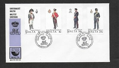 Malta First Day Cover, 1989 Maltese Uniforms Stamp Set Used.