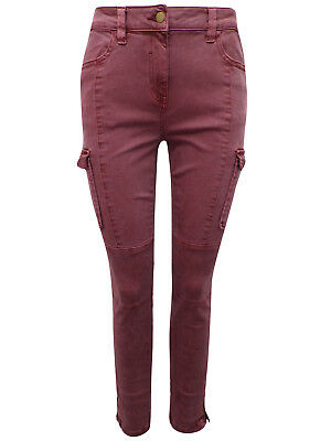 New Ex NEXT Ladies Girls Rust Skinny Fit Cargo Jeans Size 6 - 22