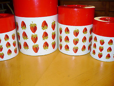 Vintage Metal Kitchen Canister Set Nesting containers Japan strawberry fruit red