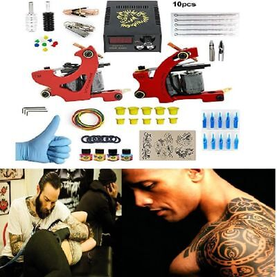 Complete Tattoo Kit Professional 2 Pro Machine Gun Ink Needles Power Supply Set