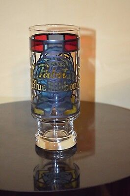 "PABST BLUE RIBBON Stain Glass BEER 6.5"" GLASS VTG Style"