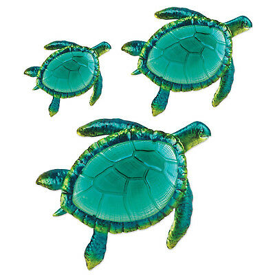 SEA TURTLE WALL Art Decor 3 Pack Large Metal Glass Sculpture In Out ...