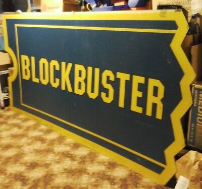 Large Blockbuster's Sign Original Video Rental Store Signage Plastic Advertising