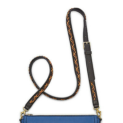 NEW Fossil Black and Neutral Multi Whip Stitch Leather Crossbody Strap NWT $58
